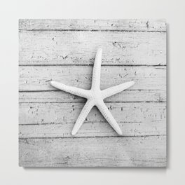 Black and White Starfish Beach Photography, Grey Star Fish Coastal, Gray Seashore Shore Seaside Metal Print