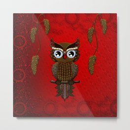 Wonderful steampunk owl on red background Metal Print