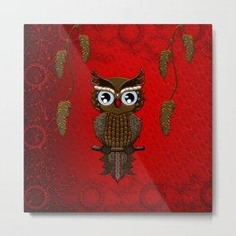 Wonderful steampunk owl on red background Metal Print