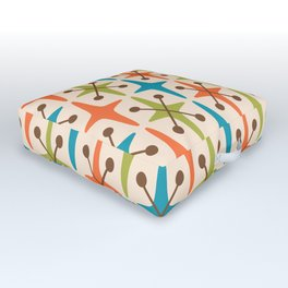 Mid Century Modern Abstract Star Pattern 441 Orange Brown Turquoise Chartreuse Outdoor Floor Cushion
