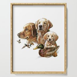 Golden Retriever Hunting Dogs Serving Tray