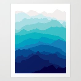 Blue Mist Mountains Art Print
