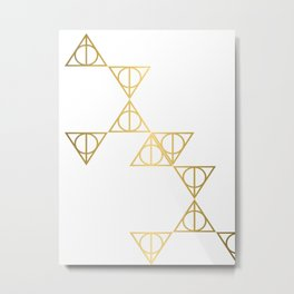 Deathly hallows golden pattern Metal Print