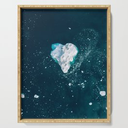 Heart of Winter - Aerial view of Icebergs in the arctic Ocean Serving Tray