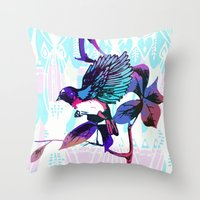 birdy Throw Pillows featuring Birdy by Cata