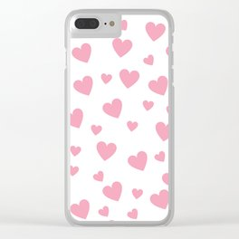 Hearts pattern - pink Clear iPhone Case