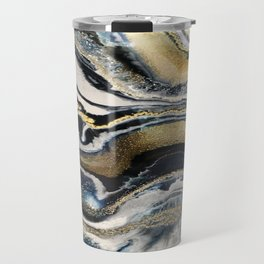 Flowing Geode Blue & Gold Travel Mug