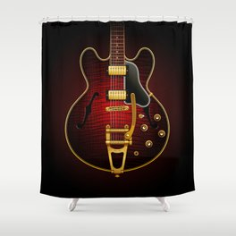 Electric Guitar ES 335 Flamed Maple Shower Curtain