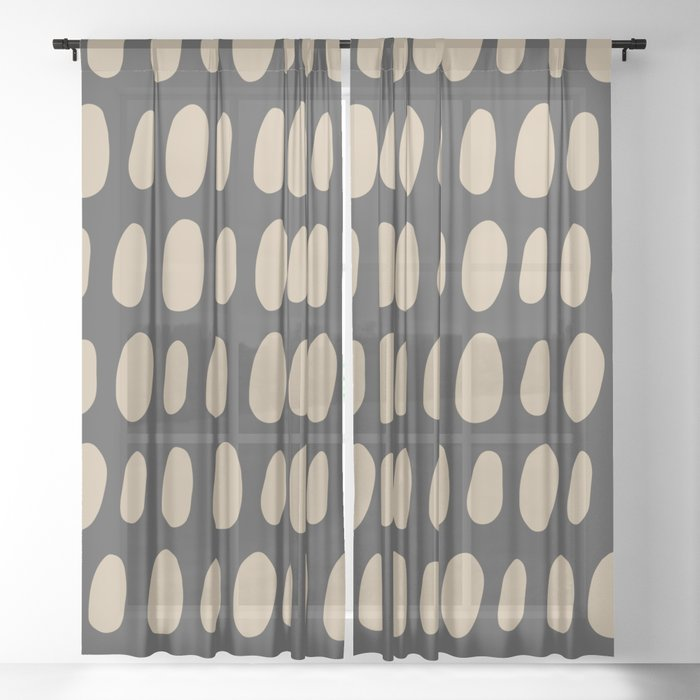 Brush Strokes Gold Sheer Curtain