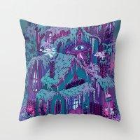 house Throw Pillows featuring December House by Valeriya Volkova