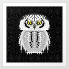 Geometric Snowy Owl Art Print