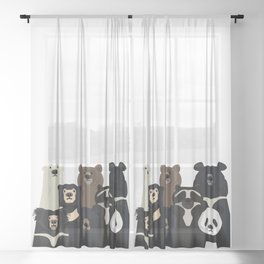 Bear family portrait Sheer Curtain