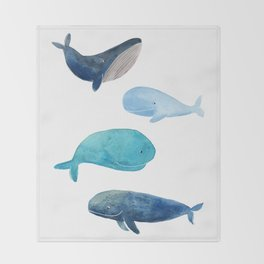 Cool whales Throw Blanket