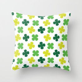 Lucky Irish Four Leaf Clovers Green and Lime Pattern Throw Pillow