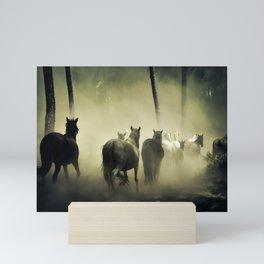Herd of Horses Running Down a Dusty Path Mini Art Print