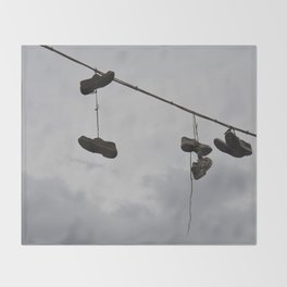 Shoes In The Air Throw Blanket