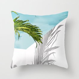 Palms In My Tropical Backyard Throw Pillow