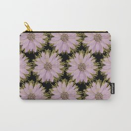 Large Gold & Lilac Flowers On Black Carry-All Pouch