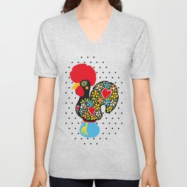 Famous Rooster of Barcelos 01 | Lucky Charm & Polka Dots Unisex V-Neck