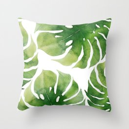 Monstera watercolor I Throw Pillow
