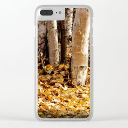 Forest Light Birch Trees in Fall, Creamers Field, Fairbanks Alaska Clear iPhone Case