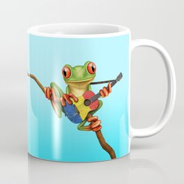 Tree Frog Playing Acoustic Guitar with Flag of Romania Coffee Mug