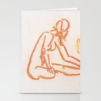 nudes Stationery Cards featuring Nudes looking away by CharlieValintyne