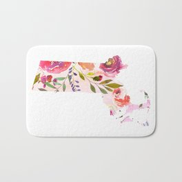 massachusetts pink floral state map watercolor Bath Mat