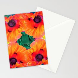 ABSTRACT GOLD ORANGE POPPY FLOWERS GREEN ART Stationery Cards