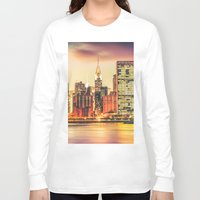 new york skyline Long Sleeve T-shirts featuring New York City Skyline by Vivienne Gucwa