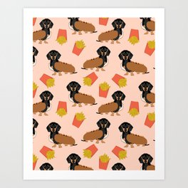 Hot Dog weener Dachshund breed cute weiner dog owner pet portrait funny junk food hot dog  Art Print