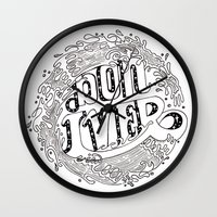 bon iver Wall Clocks featuring Bon Iver  by Infinity Arrows