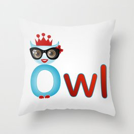 Cute owl wearing glasses and a crown Throw Pillow