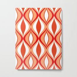 Mid-Century Modern Diamonds, Orange and White Metal Print