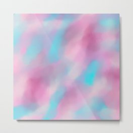 Girly pink lavender teal watercolor brushstrokes Metal Print