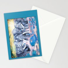 Elephants in crashing waves Stationery Cards