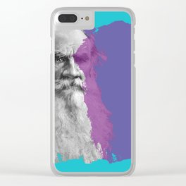 Leo Tolstoy portrait blue and purple Clear iPhone Case