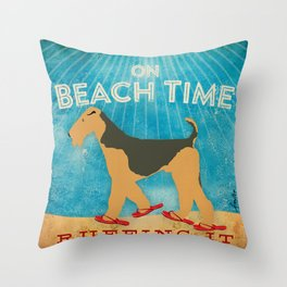 Beach Time Airedale by Stephen Fowler Throw Pillow