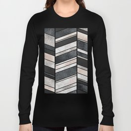 Shimmering Chevron Pattern - white pearl marble, silver and black Long Sleeve T-shirt