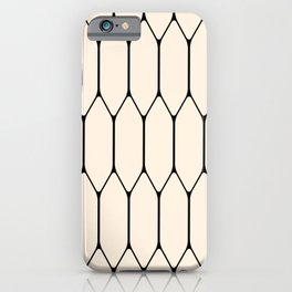 Long Honeycomb Geometric Minimalist Pattern in Almond Cream and Black iPhone Case