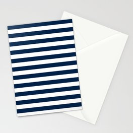 Narrow Horizontal Stripes - White and Oxford Blue Stationery Cards