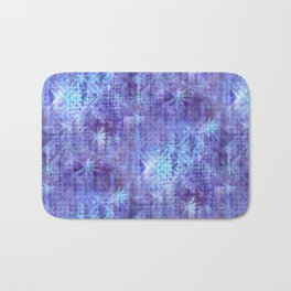 Blue and Lavender Leaves and Geometry Bath Mat