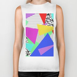 Bits And Pieces - Retro, random, abstract pattern Biker Tank