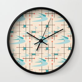 Mid Century Modern Boomerangs, blues on cream Wall Clock