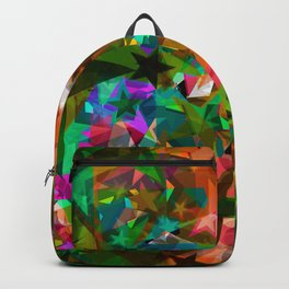 Bright green stars from foil on orange shards of glass. Backpack