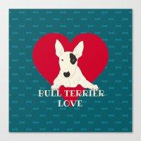 bull terrier Canvas Prints featuring Bull Terrier Love by ShaMiLa