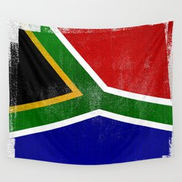 South African Distressed Halftone Denim Flag Wall Tapestry