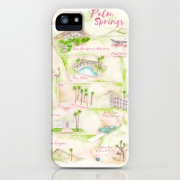 Palm Springs Watercolor Map iPhone Case