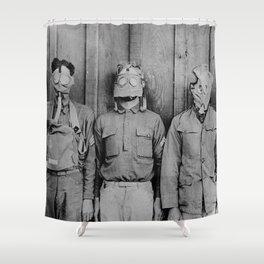 American, British, French, & German Gas Masks Shower Curtain