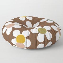 Spring Daisies on Soil Brown Floor Pillow